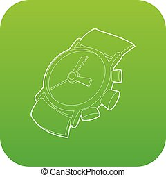 Watch icon green vector