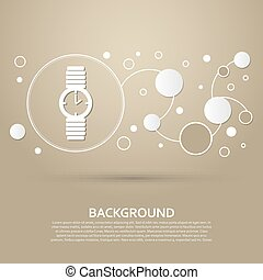 watch icon on a brown background with elegant style and modern design infographic. Vector