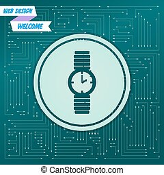 watch icon on a green background, with arrows in different directions. It appears the electronic board. Vector