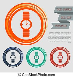 watch icon on the red, blue, green, orange buttons for your website and design with space text. Vector