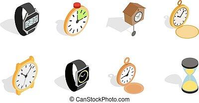 Watch icon set, isometric style - Watch icon set. Isometric...