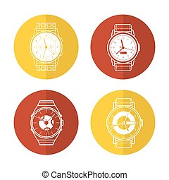 Watch icons set in color circles