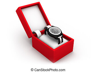 Watch in box  isolated on a white background