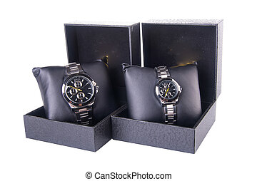 watch in box on a background