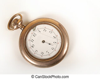 watch in gold - old pocket watch on white background