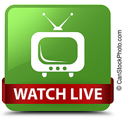 Watch live soft green square button red ribbon in middle