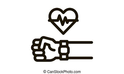 watch measuring heartbeat Icon Animation. black watch measuring heartbeat animated icon on white background