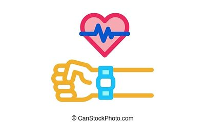 watch measuring heartbeat Icon Animation. color watch measuring heartbeat animated icon on white background