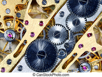Close up view of a metallic watch mechanism