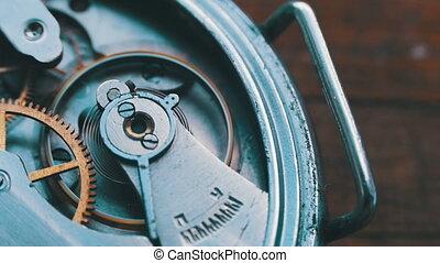 Close up of a internal clock mechanism