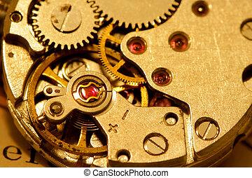 Watch mechanism - Macro shot of antique watch mechanism in...
