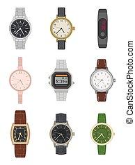 watch., mens, muñeca, diferente, vario, moderno, elegante, ...