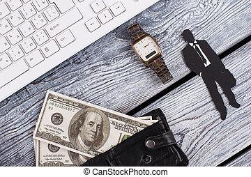 Watch, money in wallet.