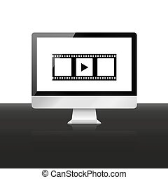 Watch movie illustration Computer screen with film strip and play symbol