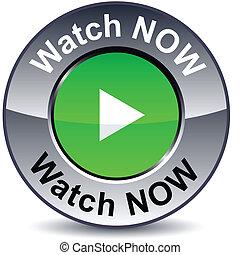 Watch now round button. - Watch now round metallic button. ...