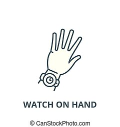 Watch on hand vector line icon, linear concept, outline sign, symbol