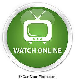 Watch online premium soft green round button