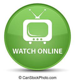 Watch online special soft green round button