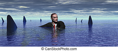 Watch out for Sharks - Businessman surrounded by sharks