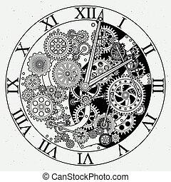 Watch parts. Clock mechanism with cogwheels. Vector illustrations. Gear of clock with cogwheel mechanism