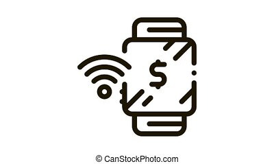 watch pay pass Icon Animation. black watch pay pass animated icon on white background