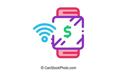 watch pay pass Icon Animation. color watch pay pass animated icon on white background