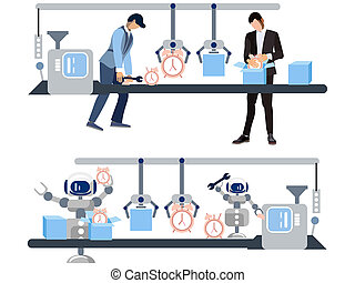 Watch production. The difference is the attitude of people and robots to work. In minimalist style Cartoon flat raster