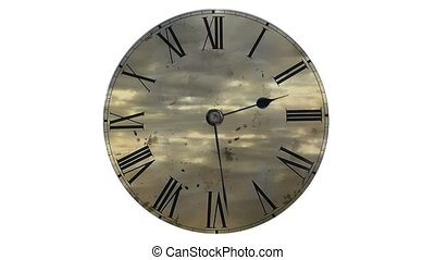 Watch quickly go. Time Lapse Clock. Fast flying clouds