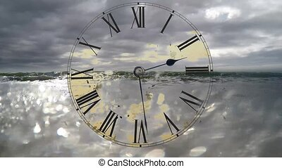 Watch quickly go. Time Lapse Clock. Sea Timelaps - Time...