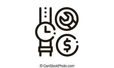 watch repair cost Icon Animation. black watch repair cost animated icon on white background