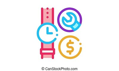 watch repair cost Icon Animation. color watch repair cost animated icon on white background