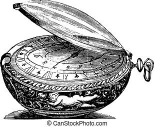Watch round of the late seventeenth century, the movement is a sign Senebier, vintage engraving.