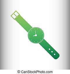 Watch sign. Green gradient icon