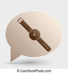 Watch sign illustration. Brown gradient icon on bubble with shadow.
