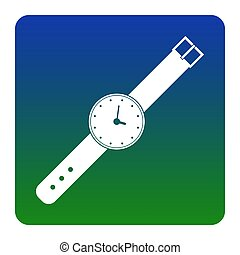 Watch sign illustration. Vector. White icon at green-blue gradient square with rounded corners on white background. Isolated.