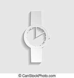 Watch sign. Paper style icon. Illustration.