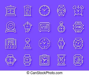 Watch simple paper cut icons vector set