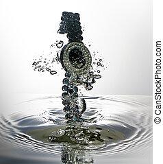 watch splash with water