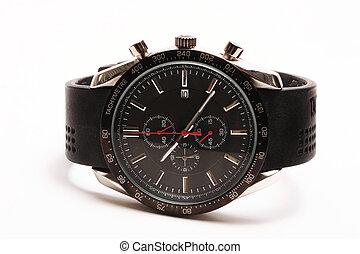 Watch - Black tachymetre wrist watch.