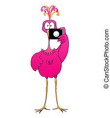 Cartoon of a giant pink flamingo or fantasy bird holding a camera