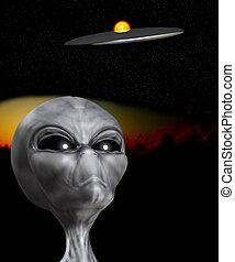 An Alien that is watching a UFO