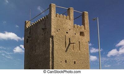 Watch tower of Ajman timelapse. United Arab Emirates - Watch...