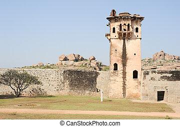 Watch tower of royal fort Zenana Enclosure at Hampi on India