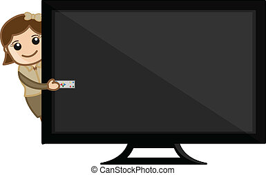 Drawing Art of Cartoon Young Girl Presenting LCD TV Vector Illustration