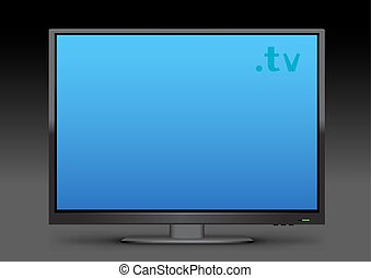 Watch TV on transparent background. Flat modern empty computer monitor or digital plasma television device. Electronic media equipment