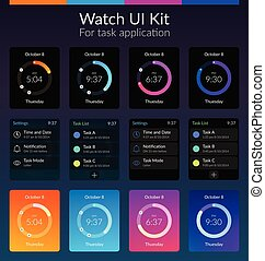 Watch UI Kit - Mobile watch ui kit design concept with...
