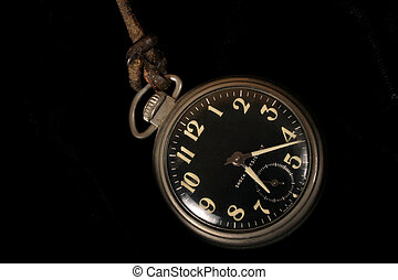 watch with leather - old pocket watch with black face on...