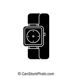 watch wrist icon, vector illustration, black sign on...