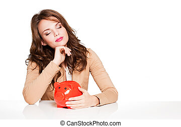 Watch your savings. - Portrait of expressive young brunette...