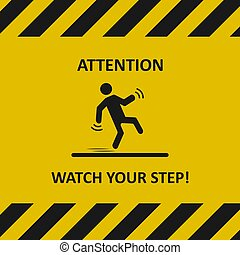 Watch your step sign. Industrial tape. Falling man icon. Vector